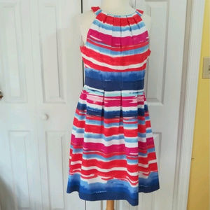Nine West pink and blue striped dress with pockets